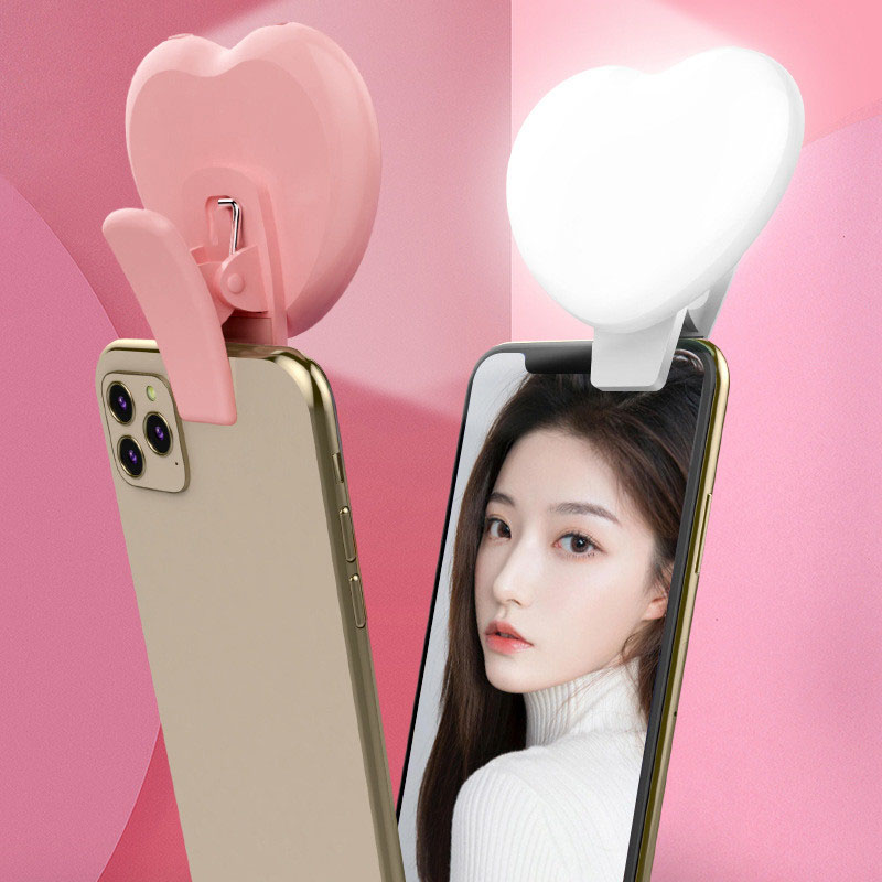 LED Phone Flashes Selfie Lights Heart-shaped Beauty Fill Light Selfie Ring Light with Tripod Stand Camera for Youtube Video