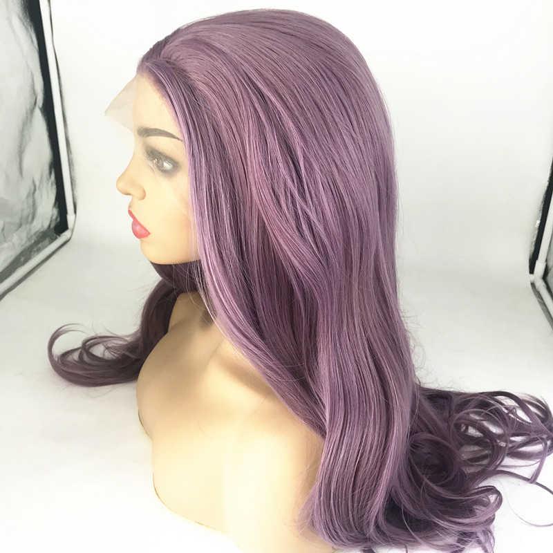 Hoge Kwaliteit Violet Lace Front Pruik Dramatische Synthetische Pruiken Voor Vrouw