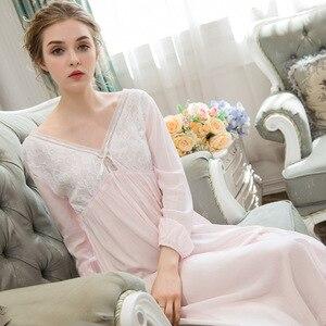 Image 2 - סקסי כתנות הלילה ארוך כותנה תחרה הלבשת נשים מתוק נסיכת סגנון ארמון Nightwear Loose כתונת לילה בתוספת גודל פיג מה Homewear