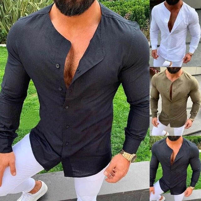 Men Linen Slim Fit Casual Long Sleeve Dress Shirts Crew Neck Tops Shirt Blouse