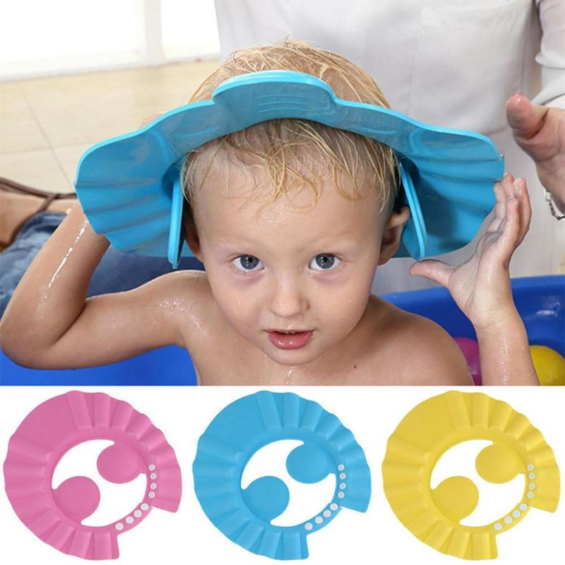 New Children Waterproof Cap Baby Safe Shampoo Bath Bathing Shower Cap Hat Wash Hair Shield Adjustable Elastic Shampoo Cap