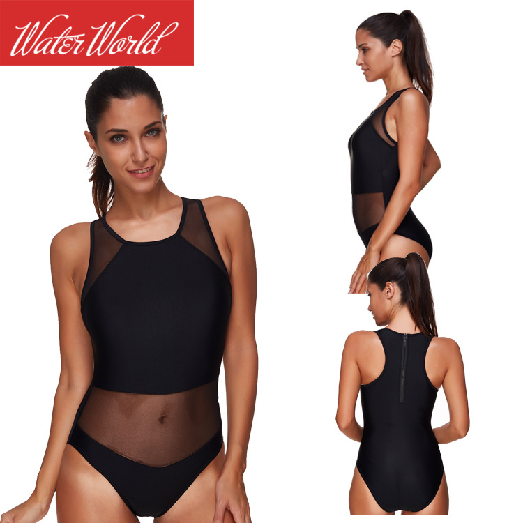 2019 New Products Currently Available Europe And America Swimwear Black Mesh Bikini One-piece Swimming Suit Back Zipper Bikini