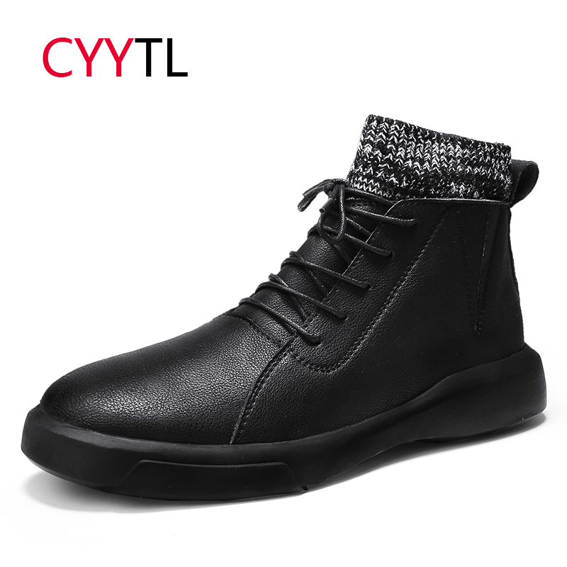 CYYTL Hot Sale Genuine Leather Men Shoes Soft Ankle Martin Safety Sneakers High-top Winter British Style Botas Masculina Hombre