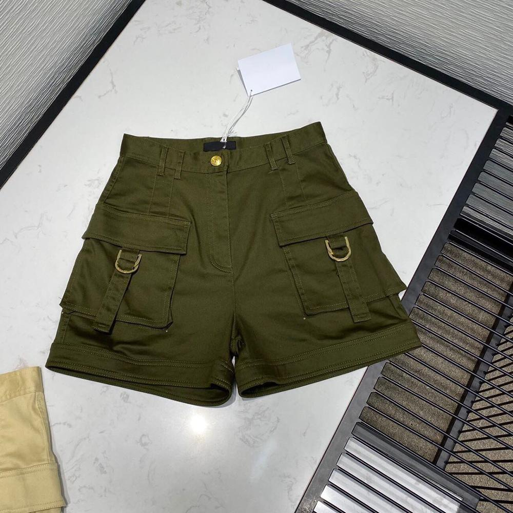 army green casual cargo women 2020 new fashion design streetwear double pockets decoration cotton high waist cool shorts 1