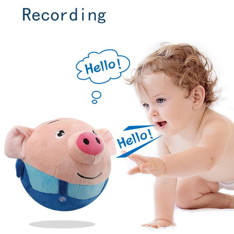 SongsRecordable Cartoon Seaweed Pig Doll Bouncing Ball USB Electric Plush Interaction Washable Beating Sing Jump Cute Toy J75