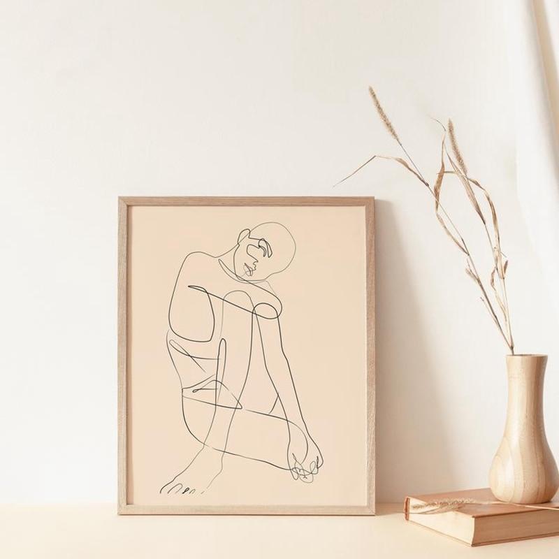 Женское Тело тонкая линия печати абстрактное искусство Рисунок Картина Холст Живопись скандинавские стены Искусство Плакат минималистичный Бохо домашний декор|Рисование и каллиграфия|   | АлиЭкспресс - Абстракция