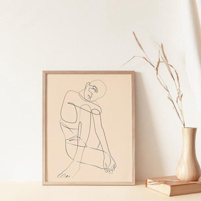 Mujer cuerpo línea fina impresión arte abstracto dibujo cuadro lienzo pintura arte escandinavo cartel minimalista Boho decoración para el hogar Nuevo ramo Artificial de hojas de palma Tropical plantas de simulación hogar balcón jardín decoración de paisaje Accesorios