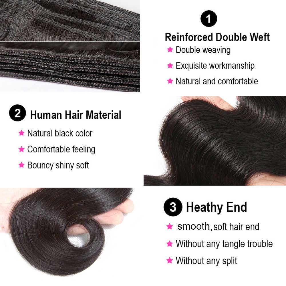 13X4 360 Body Wave Bundels Met Frontale Braziliaanse Menselijk Haar Weave Bundels Met Sluiting Remy Kant Frontale Met bundels