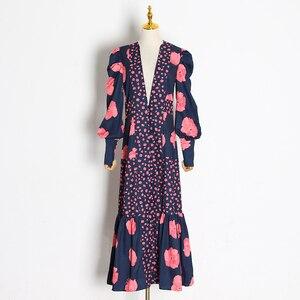 Image 4 - TWOTWINSTYLE Patchwork Print Dress For Women V Neck Lantern Sleeve High Waist Dresses Female 2020 Autumn Large Size Fashion New