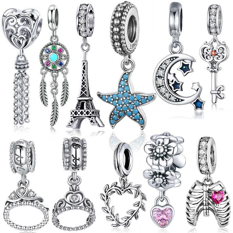 Bisaer estrela do mar lua encantos 925 prata esterlina verão estrela do mar lua estrelas pingentes encantos apto pulseira contas jóias fazendo