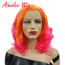 купить 14 Inch Orange Pink Synthetic Lace Front Wig With Side Parting Drag Queen Wavy Wig Ombre Short Bob Fashion Wigs for Black Women в интернет-магазине