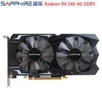 Carte graphique de jeu saphir AMD Radeon RX560 4GB 128bit GDDR5 PCI carte vidéo de bureau RX560D pour PC de jeu utilisé cartes AMD