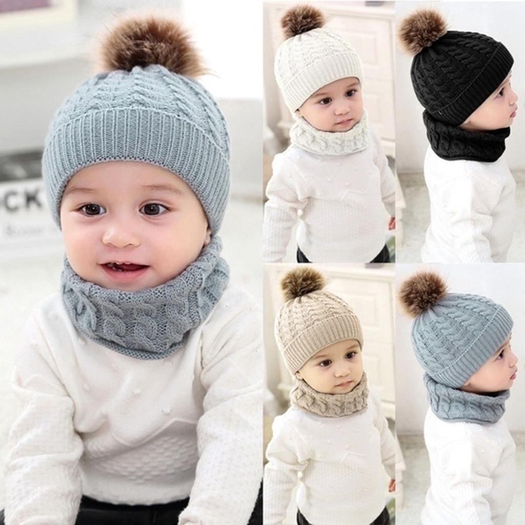 Boys Girls Beanie Hats Warm Winter Soft Cotton Knitted Pom Pom Hat