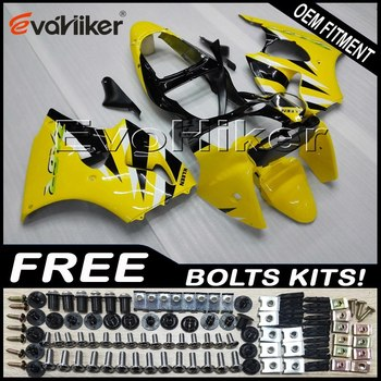 Custom motorcycle fairing for ZX-6R 2000-2002 ZZR600 05-08 ABS motor panels Body Kit Injection mold yellow+gifts