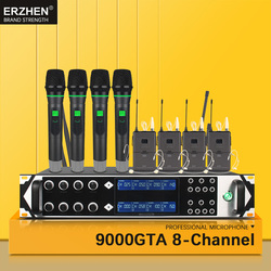 9000GTA Wireless Microphone System UHF 8-Channel Dynamic Studio Microphone Wireless Karaoke Party KTV  + Lapel Microphone