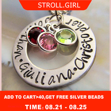 StrollGirl 925 Sterling Silver Personalized Customizable Birth stone Necklaces & Pendants Hand Stamped Custom Jewelry for Mother personalized necklaces 925 sterling silver engraved necklaces diy personalized jewelry family children mother pendants necklace