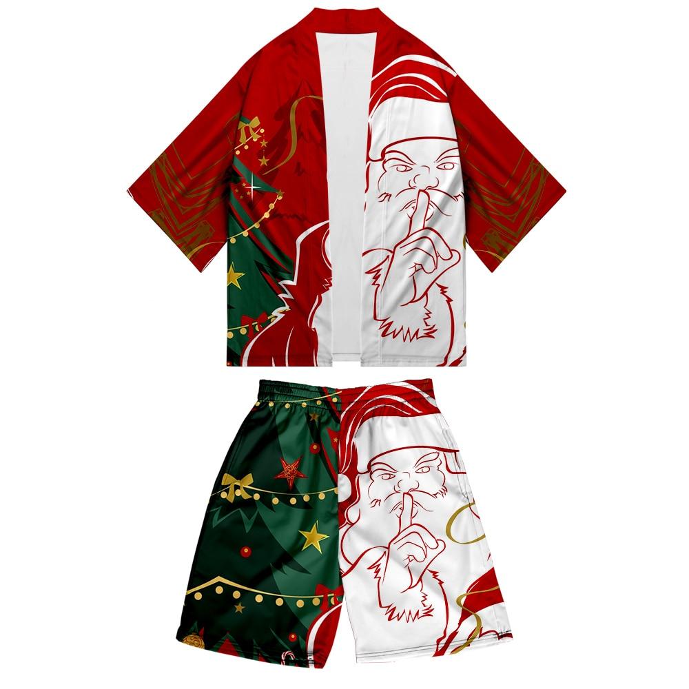 Christmas Kimono Shorts Set Cool Japanese Style Comfy Fashion Summer Men's Sets