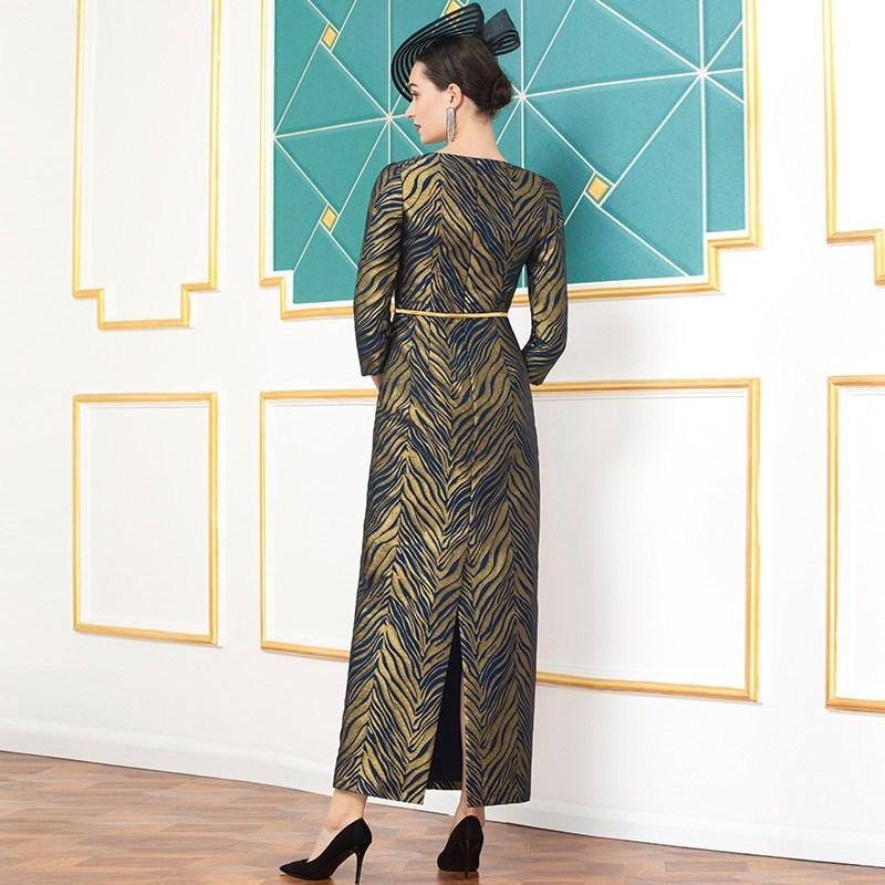 Одежда размера плюс 2020 весенние Стильные женские вечерние длинные вечерние платья с круглым вырезом и золотыми полосками до щиколотки 2XL 3XL - 4