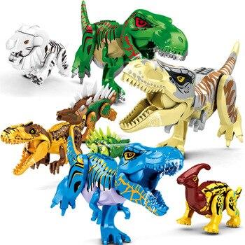 цена на 2020 New Jurassic Dinosaurs Figures Tyrannosaurus Rex Indominus I-Rex Building Blocks Kids Toy For Children Boys Christmas Gift