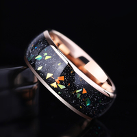 2019 Autumn New 8mm Width Opal Engagement Tungsten Rings Rose Gold Tungsten Men's Jewelry Size 7.5 10.5