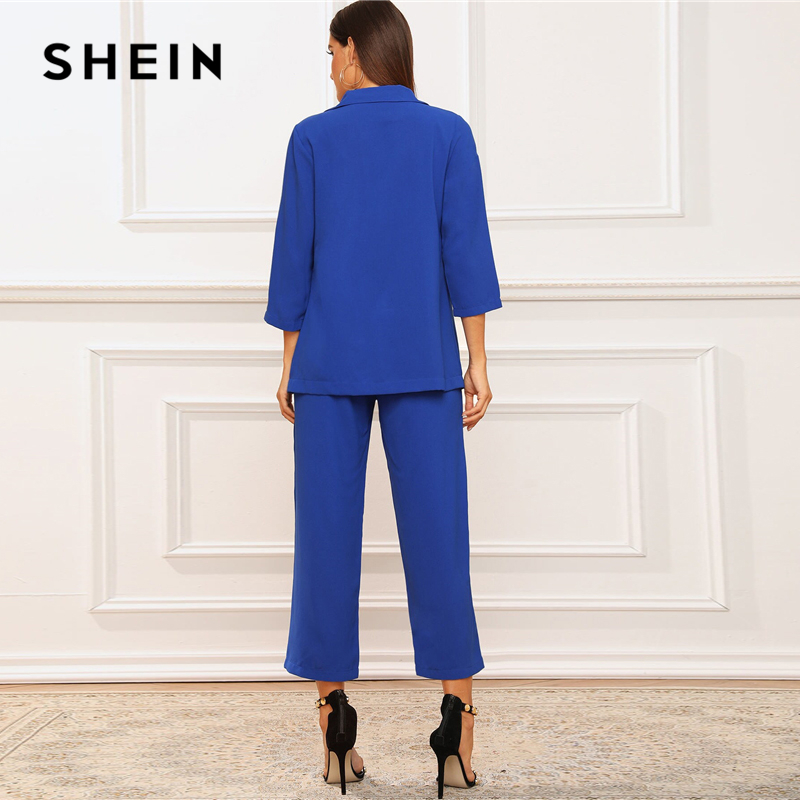 SHEIN Solid Notched Neck Blazer and Belted Crop Pants 2 Piece Set Women Autumn Elegant Office Ladies Outfits Two Piece Set 2