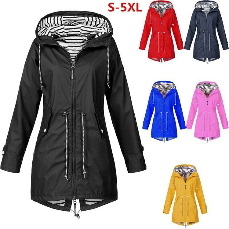 Women Jacket Fashion Autumn Solid Rain Jacket Outdoor Plus Waterproof Hooded Raincoat Windproof Coats Jackets Windbreakers