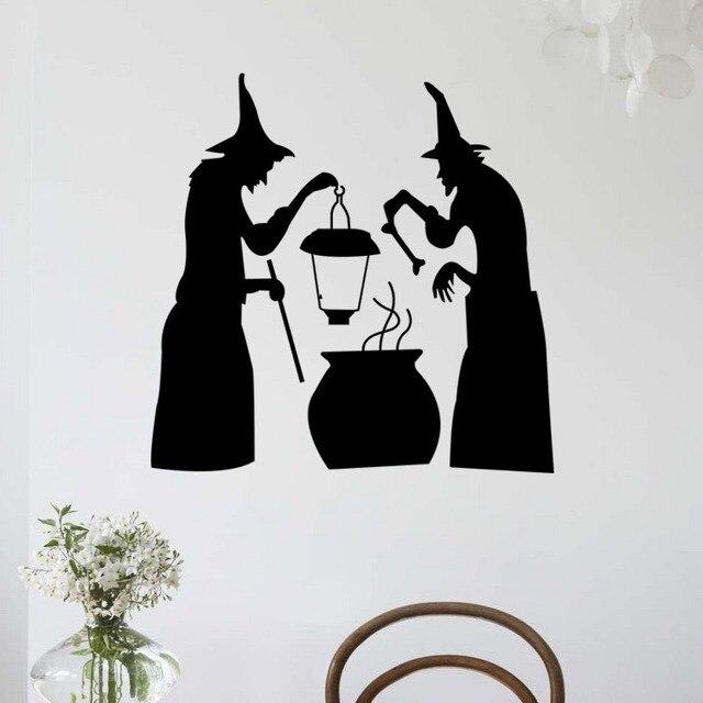 Offre spéciale décorations dhalloween méchante sorcière stickers muraux autocollant en vinyle amovible pour appartement de bureau à domicile