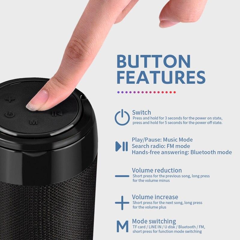 Колонка портативная bluetooth мини колонка с fm радио aux кабелем