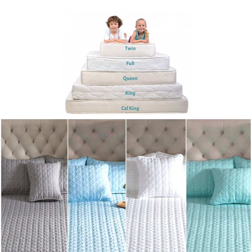 ADOREHOUSE Washable Bed Cover Queen Size Breathable Solid Color Mattress Cover Embossed Quilted King Mattress Protector