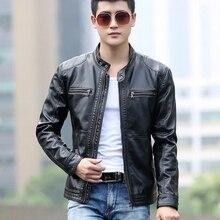 5XL мужская кожаная куртка s, Мужское пальто с воротником-стойкой, мужские мотоциклетные кожаные куртки, Повседневная тонкая новая брендовая одежда, пальто с воротником-стойкой