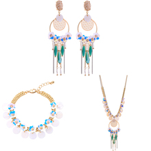 Vintage Sequins Flowers Jewelry Sets Synthetic Stone Drop Earrings Shell Choker Necklace For Women Fashion Jewelry retro jewelry flowers photo locket necklace natural stone long necklace for women vintage