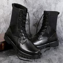 Rozmiar 37 ~ 50 Vintage Style mężczyźni buty prawdziwej skóry jesienne i zimowe buty wodoodporne obuwie robocze i ochronne męskie jakości botki