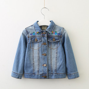 Image 2 - 子供のジャケット 2019 春と秋の新ガールズファッションデニムジャケット女の子の花の刺繍長袖ラペルジャケット