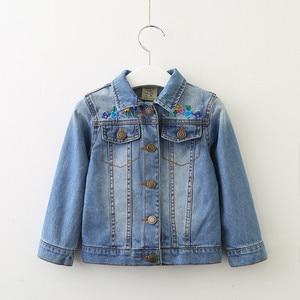 Image 2 - childrens jacket 2019 spring and autumn new girls fashion denim jacket girls flower embroidery long sleeved lapel jacket