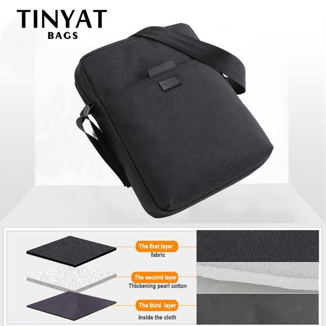 TINYAT Men's Bags Light Canvas Shoulder Bag For 7.9' Ipad Casual Crossbody Bags Waterproof Business Shoulder bag for men 0.13kg 1