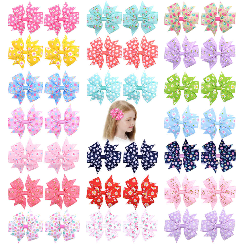 "1 pcs 3.2"" Grosgrain Ribbon Bows Clips Hairpin Girl's hair bows Boutique Hair Clip Headware Kids Hair Accessories 039"