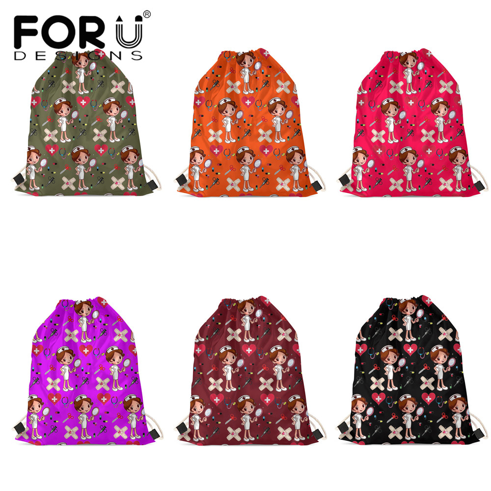 FORUDESIGNS Colorful Cartoon Nurse Girls Printing Drawstring Bag Children Boy Girl Backpacks Print On Demand Soft Travel Bag