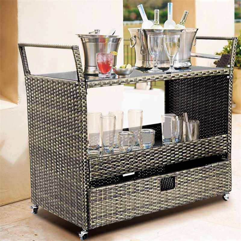 Rolling Portable Rattan Wicker Kitchen Trolley Cart Smart And Compact Design Tempered Glass Top Pe Rattan Cart Hw54723 Racks Holders Aliexpress