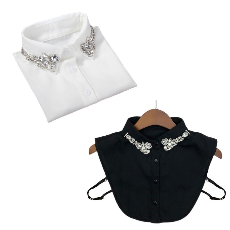 Ladies Women Water Drop Imitation Crystal Chiffon Fake Collars Jewelry Rhinestone Lapel Detachable Button Down Half-Shirt Blouse