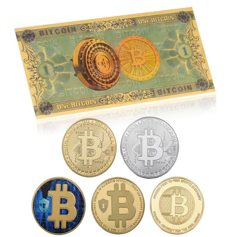 Venta al por mayor, billetes de oro Bitcoin con moneda virtual, papel de dinero falso, artículo de regalo BTC para colector de billetes, triangulación de envíos