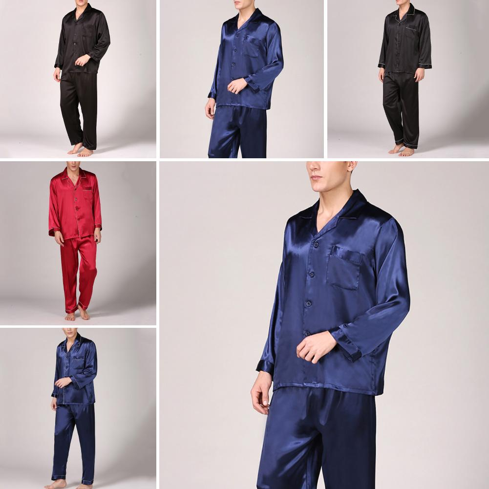 Summer Mens Pajama Set Imitation Silk Pajamas Men Sleepwear Print Shirt Long Sleeve Top Long Pants Sleepwear Sexy Men Nightwea