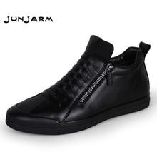 Купить с кэшбэком JUNJARM Men Boots Warm Plush Mens Winter Shoes Fashion Men Snow Boots Zipper Male Ankle Boots Black Cotton Inside Men Shoes