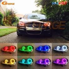 Для Volkswagen VW Golf Rabbit Jetta GTI R32 MKV MK5 2005-2010 галогенная фара RF Bluetooth APP многоцветная RGB led angel eyes