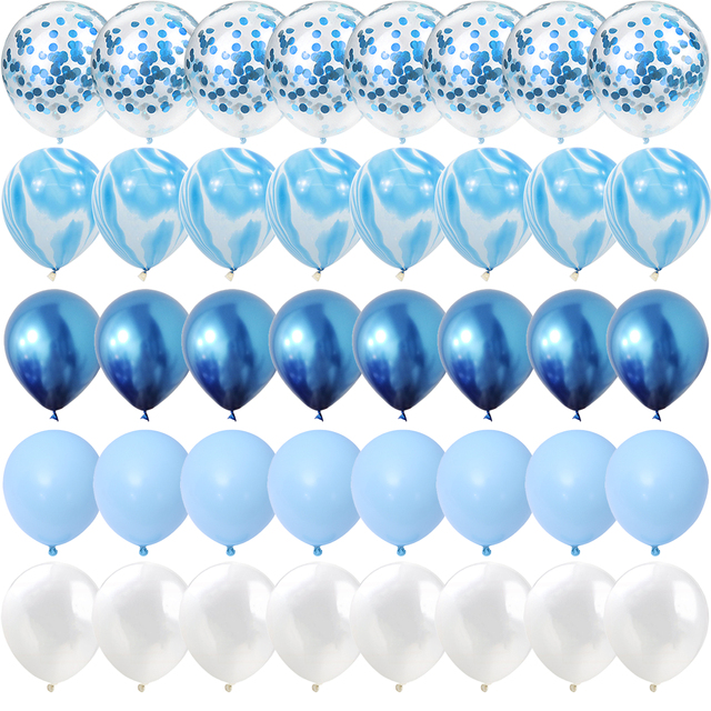 40 Pcs Blue Set Agate Marble Balloons Silver Confetti Balloon Wedding Valentine's Day Baby Shower Birthday Party Decorations 1