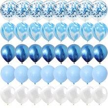 40 sztuk niebieski zestaw kulka agatowa balony srebrny balon do konfetti ślub walentynki Baby Shower dekoracje na imprezę urodzinową