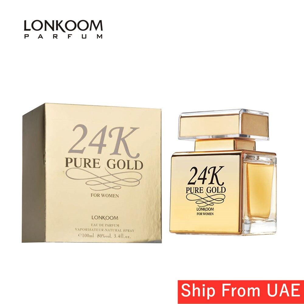LONKOOM Long Lasting Aroma Perfume For Women 24K GOLD Eau De Parfum Sweet-fruity EDP Spray Fragrant 100ml Free Shipping