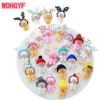 A Set/lots of Lalafanfan Cute Keychain Kawaii Cafe Mimi Yellow Duck Action Figure Keyring Bags Decoration Toys For Children
