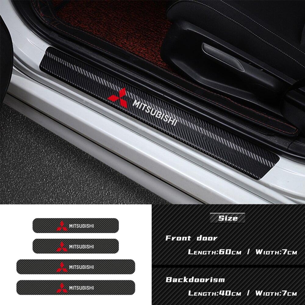 Calcomanías para el estilo del coche, 4 Uds., pegatina con emblema para el umbral de la puerta de fibra de carbono para mitsubishi asx lancer outlander pajero evo, accesorios