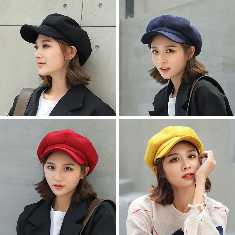 2022 Women Cap Visor Hat England Solid Cute Casual Woolen Octagonal Cap Stylish Artist Painter Newsboy Beret Hat Women's visors
