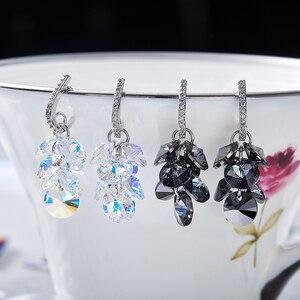 Image 2 - MALANDA New 925 Sterling Silver Long Drop Earrings Crystal From Swarovski Dangle Earrings For Women Luxury Personality Jewelry
